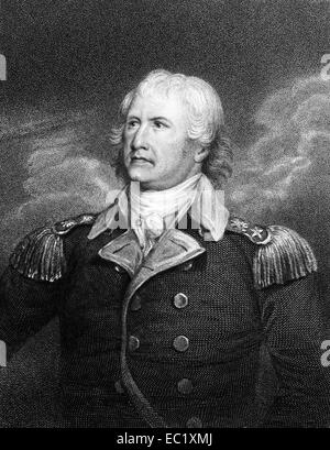 William Moultrie (1730-1805) on engraving from 1834. Planter and politician who became a general. - Stock Image