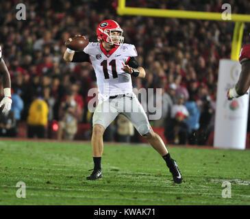 Pasadena, California, USA. 01st Jan, 2018. Georgia Bulldogs quarterback Jake Fromm #11 during the 2018 Rose Bowl - Stock Image