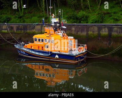 The  Trent class Lifeboat 14-14 'George and Mary Webb'  marked 'Whitby Lifeboat ' in Eyemouth Harbour Scotland - Stock Image