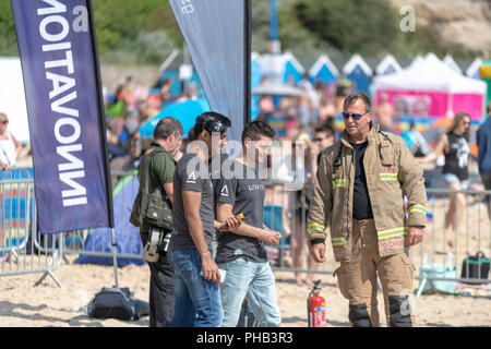Bournemouth, UK. 31st August, 2018. Thousands of people enjoy the aerial displays at the Bournemouth Air Festival in Dorset. The free weekend festival goes on until the 2nd September 2018. Credit: Thomas Faull/Alamy Live News - Stock Image