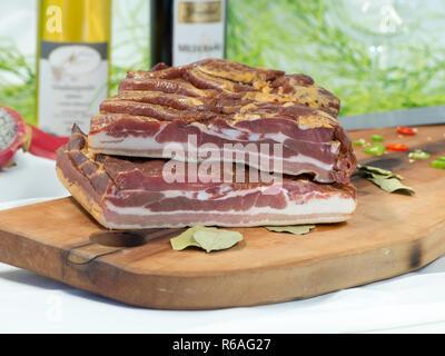 Smoked Pork Belly - Stock Image