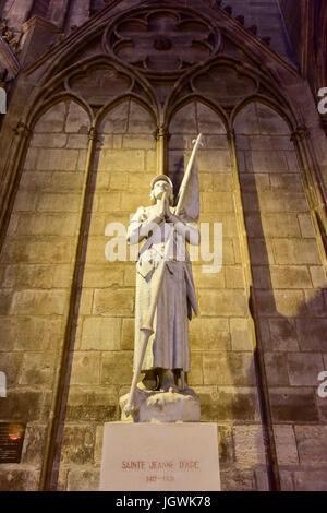 Joan of Arc monument in Notre Dame de Paris, France - Stock Image