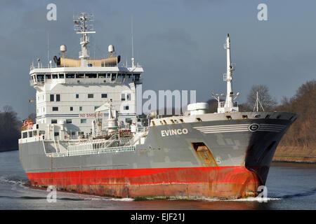 Swedish tanker Evinco passing the Kiel-Canal in balast - Stock Image