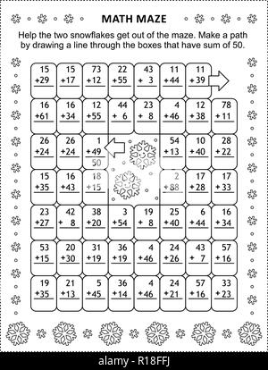 Math maze with addition facts: Help the two snowflakes get out of the maze. Make a path by drawing a line through the boxes that have sum of 50. - Stock Image