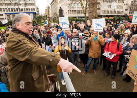 London, UK. 26th January 2019. London protest against the intended resumption of whaling by Japan.The Japanese government recently backed out of an international agreement banning commercial whaling. Campaigners rally at Cavendish Square for the march to the Japanese Embassy. Credit: Stephen Bell/Alamy Live News. - Stock Image