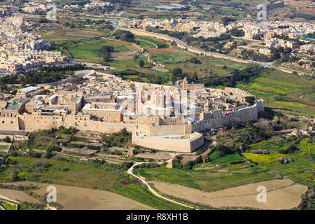 Aerial view of Mdina fortified town, Malta. - Stock Image