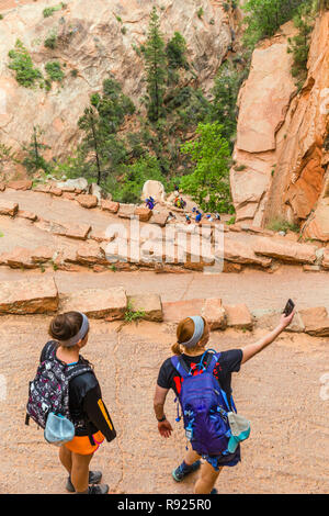 Angels Landing is one of the most popular trails in the national park system and in Zion National Park and is a 5-mile strenuous and dangerous round trip trail that starts at the Grotto trailhead. - Stock Image