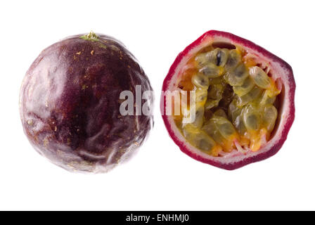 One and a half passion fruit close up. - Stock Image