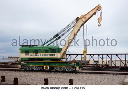 Arizona & California Railroad Crane on siding in Parker Arizona USA - Stock Image