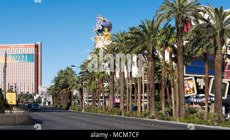 Partial view of 'Treasure Island' hotel and road level view of  Las Vegas Boulevard, famous Strip with hotels, resorts and casinos - Stock Image
