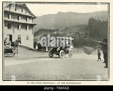 Vintage photograph of Motor car race from Paris to Vienna, 1902. In the Swiss Mountains, on the Schindellegi - Stock Image