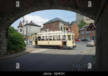 ASVi Museum Four Wheel Tramcar No.9924 Crossing N599 into Rue de l'Abbaye - Stock Image