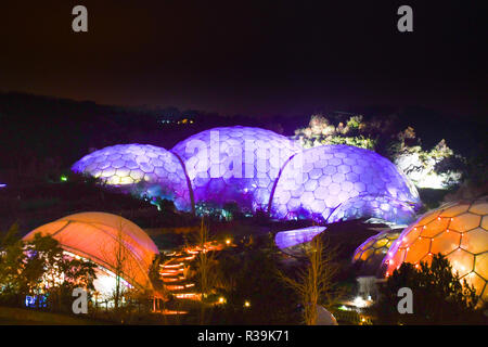 Eden Project, Cornwall, UK. 22nd November 2018. The shadows and light affter dark experience starts for the Christmas season this weekend at Eden project Credit: Simon Maycock/Alamy Live News - Stock Image