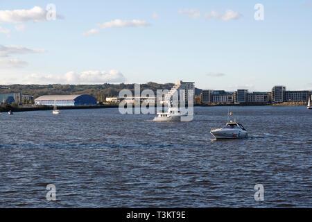 Cardiff bay lake, Wales UK - Stock Image