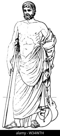 Aesculap. God of classical antiquity., ,  (cultural history book, 1875) - Stock Image