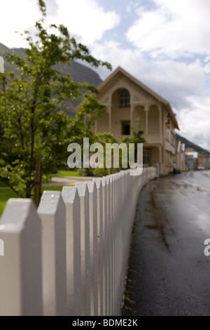 Old houses in the city of Laerdal, Laerdal, Sogn og Fjordane, Norway - Stock Image