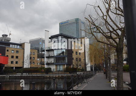 General shot Canary Wharf with Barclays Bank in background. - Stock Image