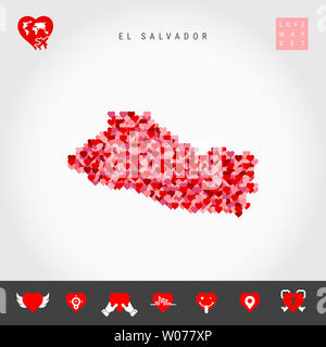 I Love El Salvador. Red and Pink Hearts Pattern Map of El Salvador Isolated on Grey Background. Love Icon Set. - Stock Image