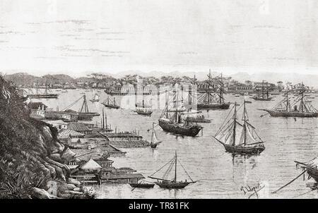 Havana harbor, port of Havana, Cuba, seen here in the 19th century.  From La Ilustracion Iberica, published 1884. - Stock Image