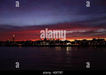London Sunset Rotherhithe UK - Stock Image