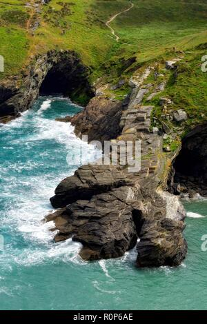 Barras Nose Tintagel castle,Cornwall,England,UK - Stock Image