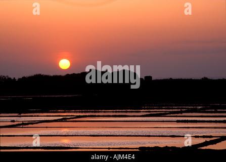 Sunset over salinas Aveiro Portugal - Stock Image