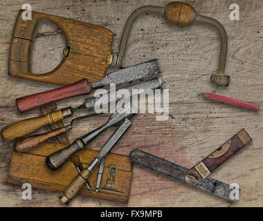 vintage woodworking  tools over wooden bench, space  for your text - Stock Image
