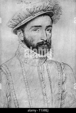fine arts, Francois Clouet (1510 - 1572), drawing, Melchior des Prez, Seigneur de Montpezat, portrait, 1560, British Museum, London, Additional-Rights-Clearance-Info-Not-Available - Stock Image