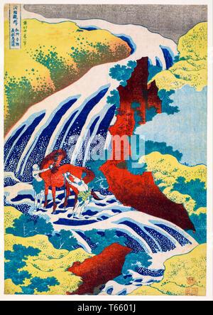 Katsushika Hokusai, The Waterfall Where Yoshitsune Washed His Horse at Yoshino in Yamato Province, print, c. 1832 - Stock Image