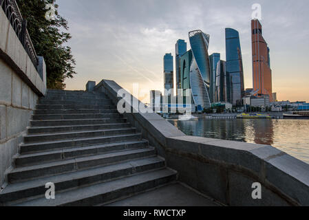 Evening Moscow city skyscrapers panorama with stairway - Stock Image
