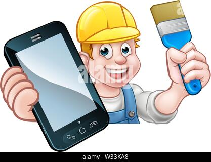 Painter Decorator Handyman Phone Concept - Stock Image