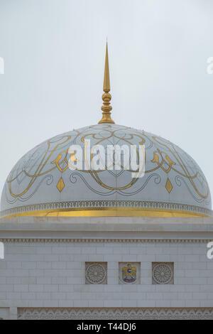 April, 4, 2019: Abu Dhabi, UAE: Detail Shot of White Dome of Presidential Palace, Qasr al Watan, Abu Dhabi. - Stock Image