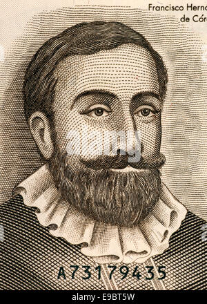 Francisco Hernandez de Cordoba (1475-1526) on Half Cordoba 1992 Banknote from Nicaragua. Founder of Nicaragua. - Stock Image