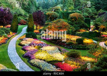 Summer in the Sunken Garden, Butchart Gardens, Central Saanich,(Victoria), BC, Canada - Stock Image