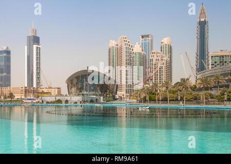 Dubai Opera and the Burj Khalifa Lake, Dubai, United Arab Emirates. - Stock Image