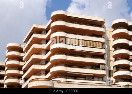 Fassade eines Hotels, 1974, in Palma, Mallorca, Spanien, Europa.   Facade of a hotel, 1974, in Palma, Majorca, Spain, - Stock Image