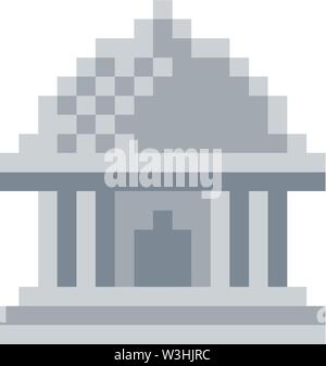 Museum Pixel 8 Bit Video Game Art Icon - Stock Image