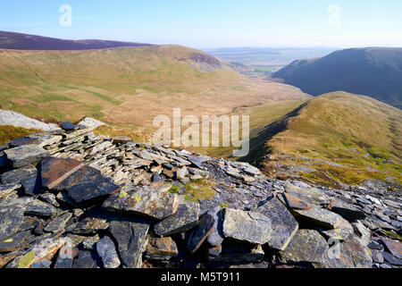 Looking down a ridge towards Bannerdale from Bannerdale Crags, Bowscale Fell in the English Lake District, UK. - Stock Image