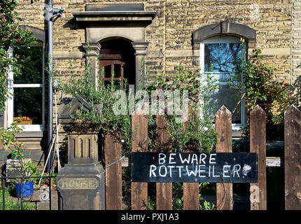 Sign - Beware Rottweiler - on gate, England UK - Stock Image