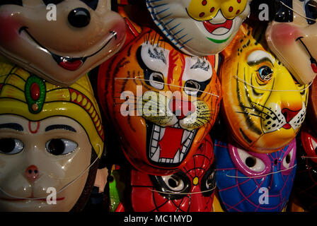 Masks for sale Odisha India Variety Mask display - Stock Image