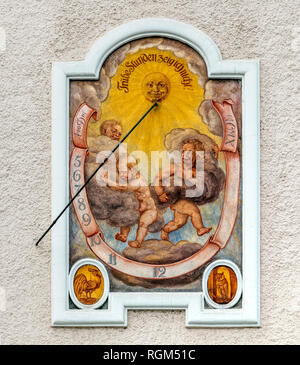 Sundial painted on a facade of a building, Berchtesgaden, Bavaria, Germany - Stock Image