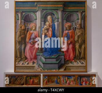 Madonna and Child with St.Francis, St. Cosmas, St. Damian and St. Anthony of Padua, Filippo Lippi, 1440-1445, Galleria degli Uffizi, Uffizi Gallery, F - Stock Image
