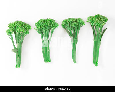 four stems of green sprouting broccoli - Stock Image
