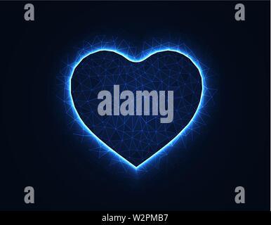 Heart symbol magic low poly model, love polygonal wireframe vector illustration on dark blue background - Stock Image