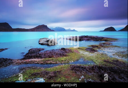 Blue lagoon in Norway - long exposure - Stock Image