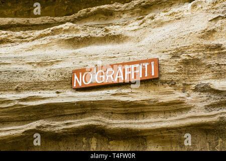 No graffiti sign, Ol Njorowa gorge, Hells Gate National Park, Kenya - Stock Image