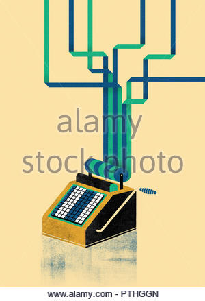 Adding machine paper roll printout separating into strips - Stock Image
