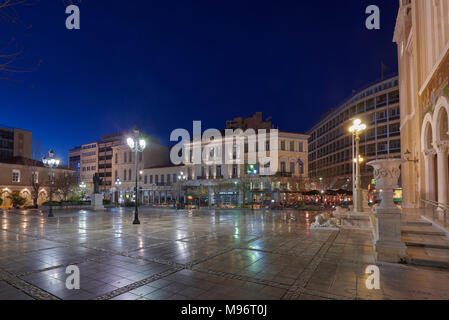 Night view of the Mitropoleos square at Athens city center, Greece - Stock Image