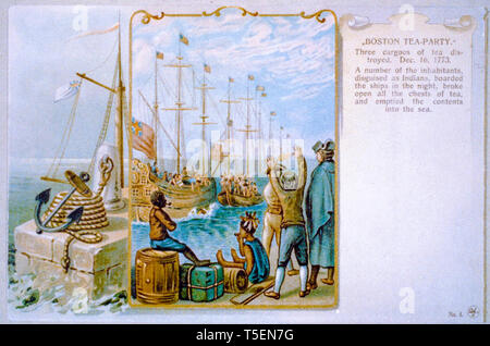 Boston Tea Party, Three cargoes of tea destroyed, December 16th 1773, painting, 1903 - Stock Image