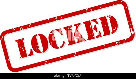 Locked red rubber stamp vector isolated - Stock Image